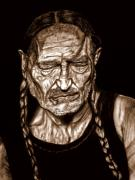 Willie Drawings - Willie Nelson by Herbert Renard