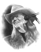 Willie Drawings - Willie Nelson by Joyce Geleynse