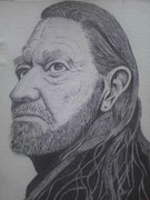 Willie Drawings - Willie Nelson by Kenneth Sobaski