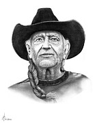 Pencil Portrait Drawings - Willie  Nelson by Murphy Elliott