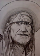 Songwriter  Drawings - Willie Nelson by Pete Maier