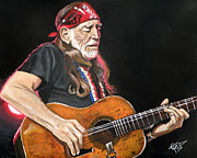 Singer  Paintings - Willie Nelson by Tom Carlton