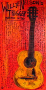 Acoustic Guitar Paintings - Willie Nelsons Trigger by Karl Haglund