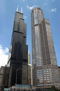 Chicago Illinois Posters - Willis aka Sears Tower and 311 South Wacker Drive Poster by Adam Romanowicz