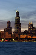 Chicago Skyline Art - Willis Tower at Dusk aka Sears Tower by Adam Romanowicz