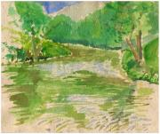 Handmade Paper Paintings - Williston Northhampton School Pond by Annie Alexander
