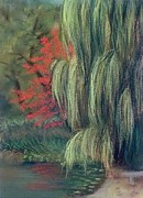 Side Pastels Prints - Willow Tree - Hidden Lake Gardens -tipton Michigan Print by Yoshiko Mishina