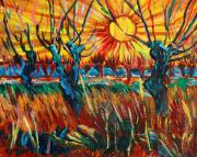 Vibrant Colors Paintings - Willows at Sunset - study of Vincent Van Gogh by Karon Melillo DeVega