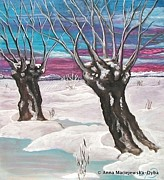 Folkartanna Paintings - Willows in the Snow by Anna Folkartanna Maciejewska-Dyba