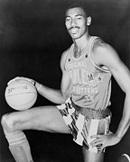 Professional Basketball Prints - Wilt Chamberlain, Wearing Uniform Print by Everett