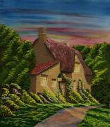 Brick Paintings - Wiltshire At Sunset by Charlotte Blanchard