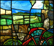 Stained Glass Art Metal Prints - Wiltshire landscape detail Metal Print by Andrew Taylor