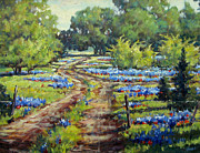 Dirt Road Paintings - Wimberleys Bluebonnets by Vickie Fears