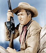 Films By Anthony Mann Framed Prints - Winchester 73, James Stewart, 1950 Framed Print by Everett