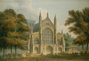 Village Scenes Prints - Winchester Cathedral Print by John Buckler