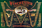 Winchester Framed Prints - Winchester Double W Cartridge Board Framed Print by Unknown