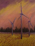 Wind Pastels Posters - Wind And Wheat Poster by Pat Snook