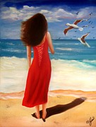 Women Paintings - Wind Blown Beach by Joni McPherson