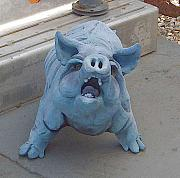Clay Sculptures - WIND BREEDS HAOS number  1 STANDING PIG by Brian Somerville