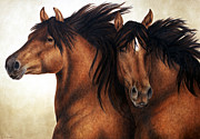 Horses Painting Framed Prints - Wind Brothers Framed Print by Pat Erickson