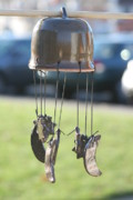 Outdoor Ceramics - Wind Chime Randy Red by Monika Hood