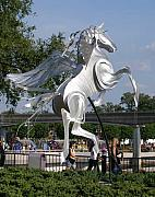 Equine Sculpture Sculptures - Wind Dancer Pegasus by Mindy Z  Colton