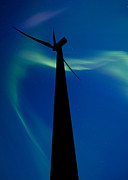 Conservation Art Framed Prints - Wind farm and Northern Lights Framed Print by Mark Duffy