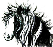 Gypsy Drawings Prints - Wind Horse version one Print by Teresa Vecere