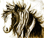 Mustang Mixed Media - Wind Horse version six by Teresa Vecere
