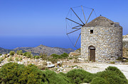 Energy Prints - wind mill Naxos Print by Joana Kruse