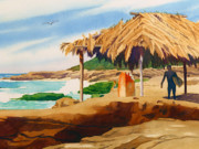 Beach Hut Paintings - Wind n Sea Beach La Jolla by Mary Helmreich