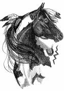 Horses Drawings - Wind Song by Paula Hammond