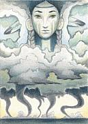 Storm Clouds Drawings Posters - Wind Spirit Dances Poster by Amy S Turner