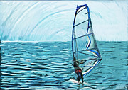 Wind Surfing Framed Prints - Wind Surfer Framed Print by Tilly Williams