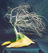 Sal Villano Art - Wind Swept Island  - Wire Tree Sculpture by Sal Villano