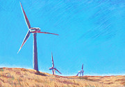 Landscape Greeting Cards Pastels Framed Prints - Wind Turbines Framed Print by Abbie Groves