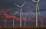 Jim Wright Art - Wind turbines at dusk by Jim Wright