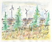 Minnesota Painting Originals - Wind Turbines by Matt Gaudian