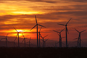 Silhouette - Wind Turbines Sunrise by Clarence Holmes