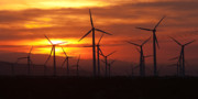 Skies - Wind Turbines Sunrise Panoramic by Clarence Holmes