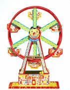 Wheel Drawings Prints - Wind-up Ferris Wheel Print by Glenda Zuckerman
