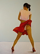 Flashing Painting Prints - Wind Up Her Skirt Print by Peter Wedel