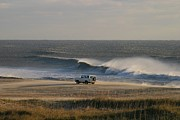 Ocean Scenes Posters - Wind, Waves And Fisherman In An Suv Poster by Skip Brown