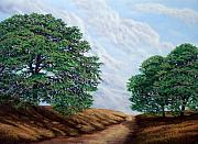 Oak Trees Paintings - Windblown Clouds by Frank Wilson