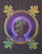Tree Roots Mixed Media Prints - Windblown Oak Mandala Print by Jo Thompson