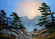Moonlight Paintings - Windblown Pines by Frank Wilson