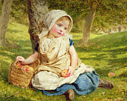 Picking Apples Posters - Windfalls Poster by Sophie Anderson