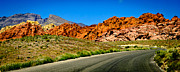 Red Rock Canyon Framed Prints - Winding Canyon Road Framed Print by Shutter Happens Photography
