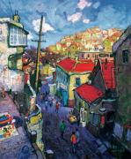 Cobblestone Painting Prints - Winding cobblestone Lane Print by Xichang Sun