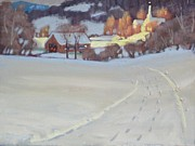Covered Bridge Paintings - Winding Road by Len Stomski